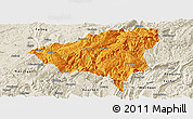 Political Panoramic Map of Wulong, shaded relief outside