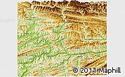 Physical 3D Map of Yunyang
