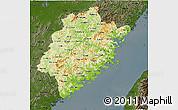 Physical 3D Map of Fujian, darken