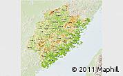 Physical 3D Map of Fujian, lighten