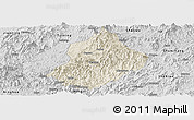 Shaded Relief Panoramic Map of Jiangle, desaturated