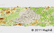 Shaded Relief Panoramic Map of Jiangle, physical outside