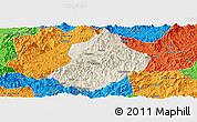 Shaded Relief Panoramic Map of Jiangle, political outside