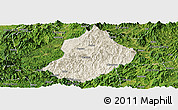 Shaded Relief Panoramic Map of Jiangle, satellite outside