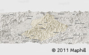 Shaded Relief Panoramic Map of Jiangle, semi-desaturated