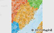 Political Shades Map of Fujian