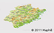 Physical Panoramic Map of Fujian, cropped outside
