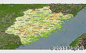 Physical Panoramic Map of Fujian, darken