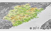 Physical Panoramic Map of Fujian, desaturated