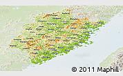 Physical Panoramic Map of Fujian, lighten