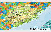 Physical Panoramic Map of Fujian, political outside