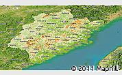 Physical Panoramic Map of Fujian, satellite outside