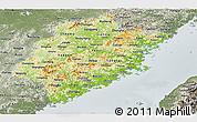 Physical Panoramic Map of Fujian, semi-desaturated