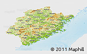 Physical Panoramic Map of Fujian, single color outside