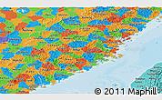 Political Panoramic Map of Fujian