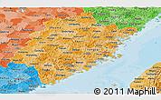 Political Shades Panoramic Map of Fujian