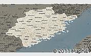 Shaded Relief Panoramic Map of Fujian, darken