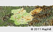 Physical Panoramic Map of Shanghang, darken
