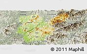 Physical Panoramic Map of Shanghang, semi-desaturated