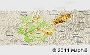 Physical Panoramic Map of Shanghang, shaded relief outside