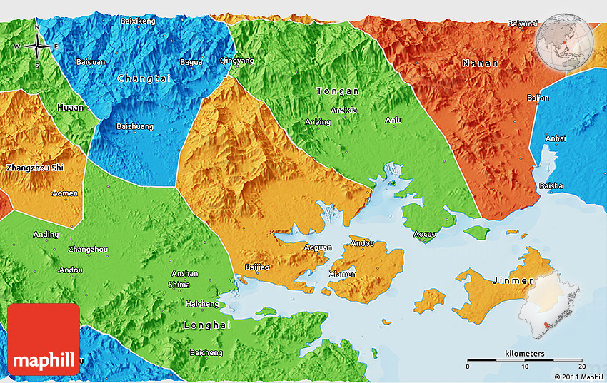 Political 3D Map of Xiamen Shiqu
