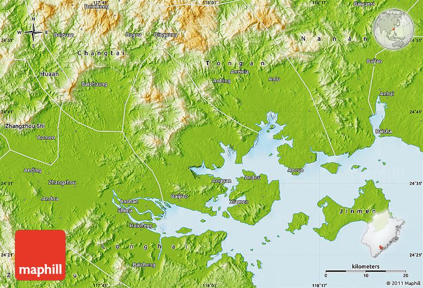 Physical Map of Xiamen Shiqu