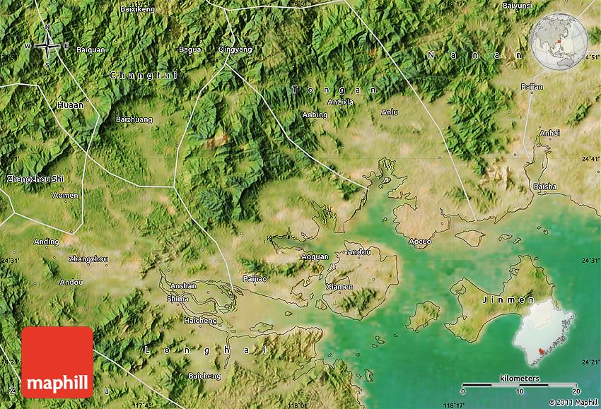 Satellite Map of Xiamen Shiqu