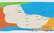 Shaded Relief Panoramic Map of Anxi, political outside