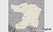 Shaded Relief Map of Gaotai, darken, desaturated