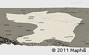Shaded Relief Panoramic Map of Gaotai, darken