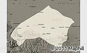 Shaded Relief Map of Gulang, darken