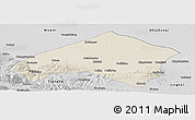 Shaded Relief Panoramic Map of Gulang, desaturated