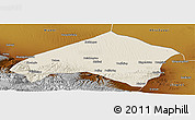 Shaded Relief Panoramic Map of Gulang, physical outside