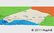 Shaded Relief Panoramic Map of Gulang, political outside