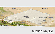 Shaded Relief Panoramic Map of Gulang, satellite outside