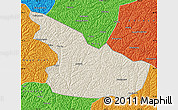 Shaded Relief Map of Huachi, political outside