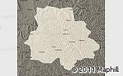 Shaded Relief Map of Huan Xian, darken