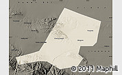 Shaded Relief Map of Jiayuguan Shi, darken