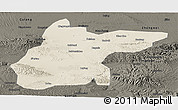 Shaded Relief Panoramic Map of Jingtai, darken