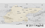 Shaded Relief Panoramic Map of Jingtai, desaturated