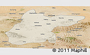 Shaded Relief Panoramic Map of Jingtai, satellite outside