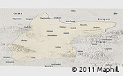 Shaded Relief Panoramic Map of Jingtai, semi-desaturated