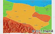 Political 3D Map of Jiuquan
