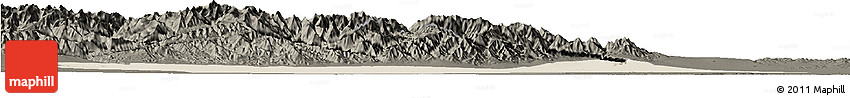 Shaded Relief Horizon Map of Jiuquan, darken