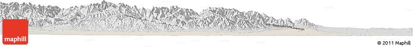 Shaded Relief Horizon Map of Jiuquan, desaturated