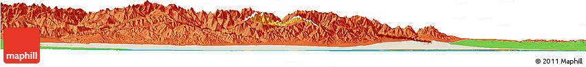 Shaded Relief Horizon Map of Jiuquan, political outside