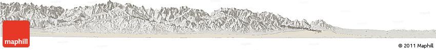 Shaded Relief Horizon Map of Jiuquan, semi-desaturated