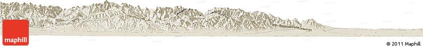 Shaded Relief Horizon Map of Jiuquan