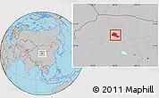 Gray Location Map of Jiuquan