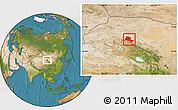Satellite Location Map of Jiuquan
